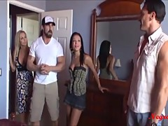 2 couple looking the rented room to stay and shareing a girl