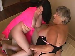 Grandma Libby and Angel Eyes share a young cock