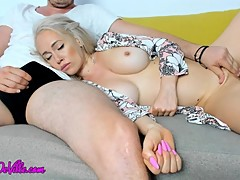 MOM & STEP-SON Share a COUCH - (TABOO & CUM SWALLOW)