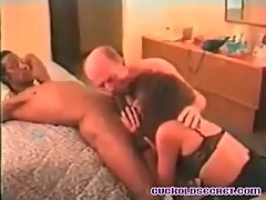 Cuckold Sissy Secret sucking BBC bull off with wife