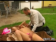 Stunning old and young act with hot babe seducing daddy