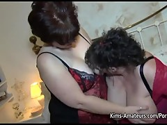 Old big boobed lesbians share the cum