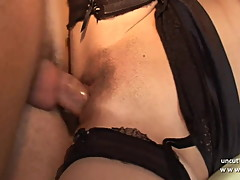 FFM 2 french whores masturbating and sharing a cock