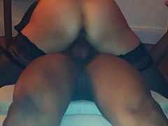USED WHITE ASS RIDING A BIG BLACK COCK