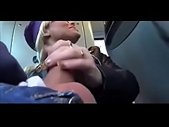 Gorgeous Blondes Share Cum in a Public Bus