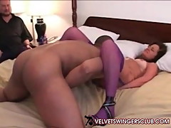 Velvet Swingers Club Cuckold husband watches his wife fuck