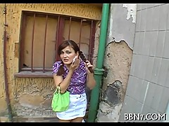 Public oral sex with sexy babe