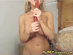 My MILF Exposed busty MILF in red fishnets with dildo up her